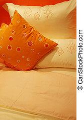 Bed linen - home interiors - Orange bed linen