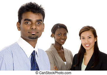 Business Teamwork - A young diverse business team of three...