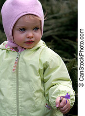Spring baby  - Little baby holding crocuses