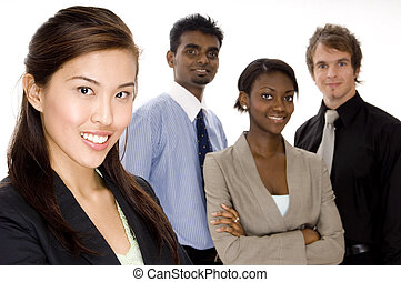 Group Business - Four attractive individuals make a young...