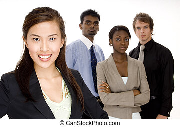 Businesswoman - A smiling asian businesswoman (in focus)...