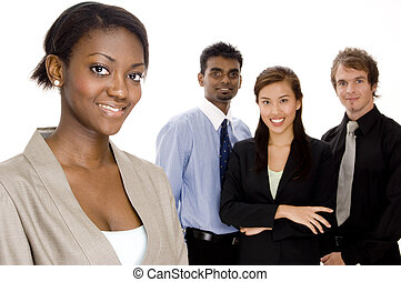 Smiling Business Team - A black businesswoman in focus...