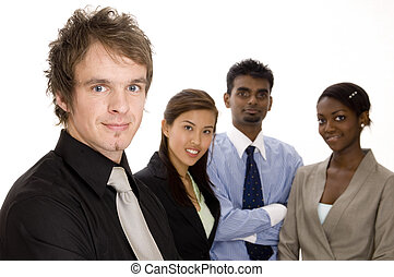 Business Team - A fashionable young businessman standing in...
