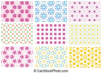 nine patterns - nine repeated pattern backgrounds