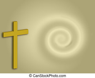 Cross Background - Gold cross over swirl background.