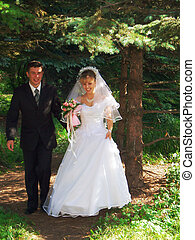 married - newlyweds go for a forest