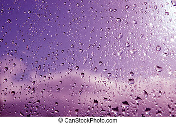 purple rain - purple tint on April shower on dublin window...