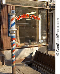 Barber Pole - This is a shot of an old fashioned barber shop...