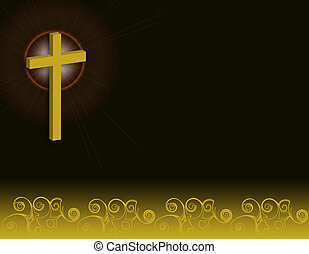 Cross with glow and swirls over black background.