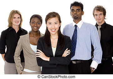 Business Team - Five people make up a diverse business team