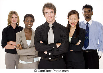 Happy Business Team - A smiling group of business men and...