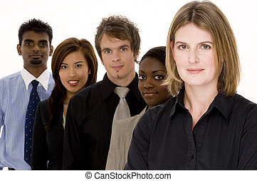 Mixed Business Team - A diverse group of men and women in...