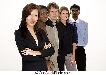 Business Teamwork - A group of attractive young adults in...