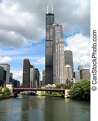 Sears Tower in Chicago with River