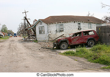 Hurricane Damage #4 - House and jeep damaged by Hurricane...