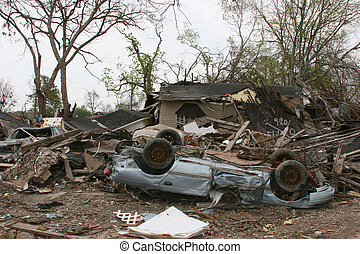 Hurricane Damage - A car and house damaged