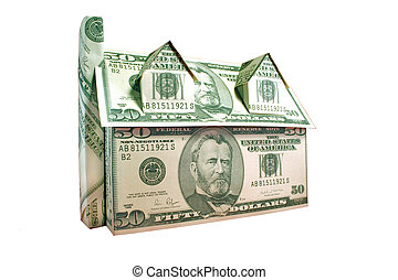 Cash House Clipping - A house of fifty dollar bills isolated...