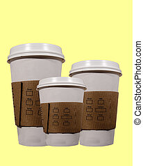 coffee cups - three yellow coffee cups
