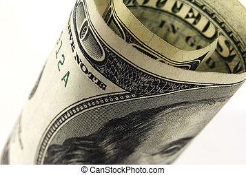 100 dollar bill - rolled up 100 dollar bill