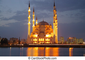 Night Mosque - The Adana mosque after sunset in Turkey.