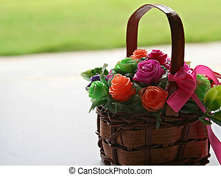 Bouquet of Flowers - A bouquet of artificial flowers in a...