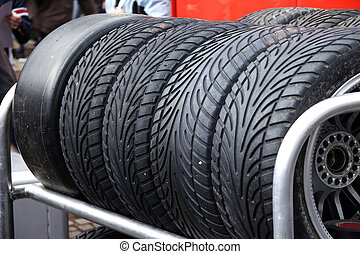 stock of tire - tire of a racing car in the shelf