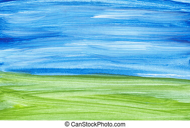 Abstract landscape - Handpainted landscape on watercolour...