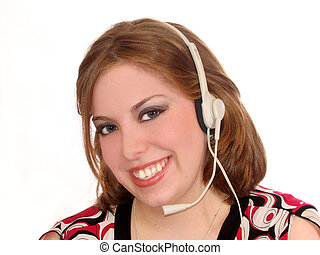 Woman Headset - Attractive young woman with headset on white