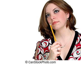 Young Businesswoman - Attractive young woman with pencil on...