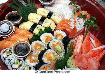 Sushi Take Out - salmon sushi and sashimi take out