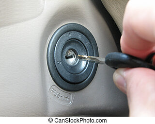Get Started - car key inserted into ignition slot and...