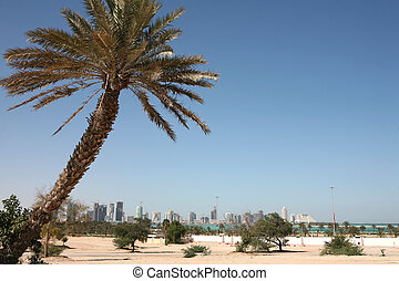 New Doha skyline - A distant view of the New District...