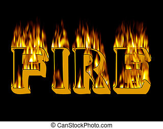 flame text - Fire and flame text on black background