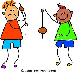 let\\\'s play conkers - two little boys having a game of...