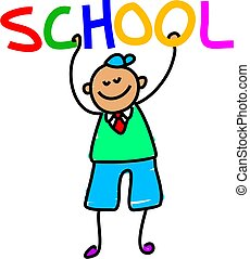 school kid - little school boy holding up the word SCHOOL -...