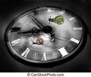 Colorful snails raicing on clock background.
