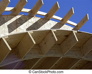 New Construction - Wood framing of new construction against...