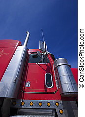 Red transport truck with blue sky - Red transport truck...