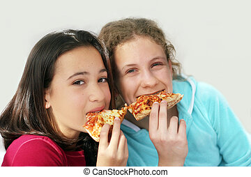 Pizza girls - Two girls eating pizza