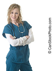 Attractive lady doctor with arms crossed standing on white
