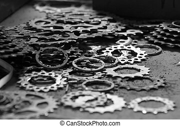 Dirty Gears - Dirty used gears on a workbench.