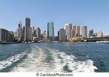 Rear view of Sydney city by boat