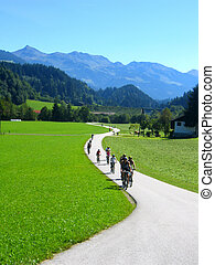 cycling in the country - mountain biking in the austrian...