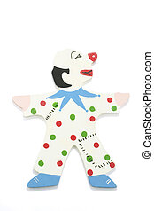 Clown Figure - Clown figure on white background with shadow