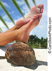 Relaxing Beach Feet - Womens feet resting on a coconut on a...