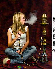 Girl smoking waterpipe
