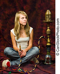 Girl smoking waterpipe
