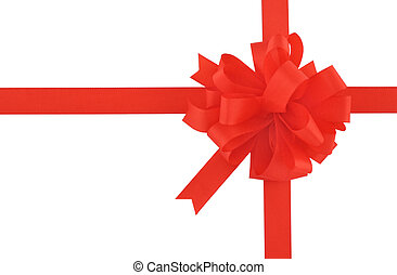 red bow and ribbon on pure white background