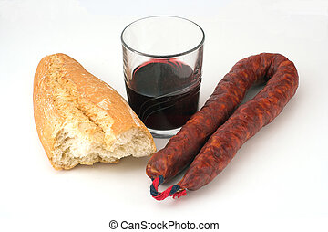 Chorizo, bread and wine
