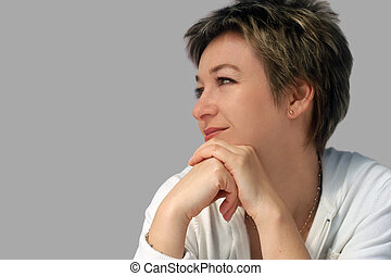 Smiling woman - Profile of a smiling woman